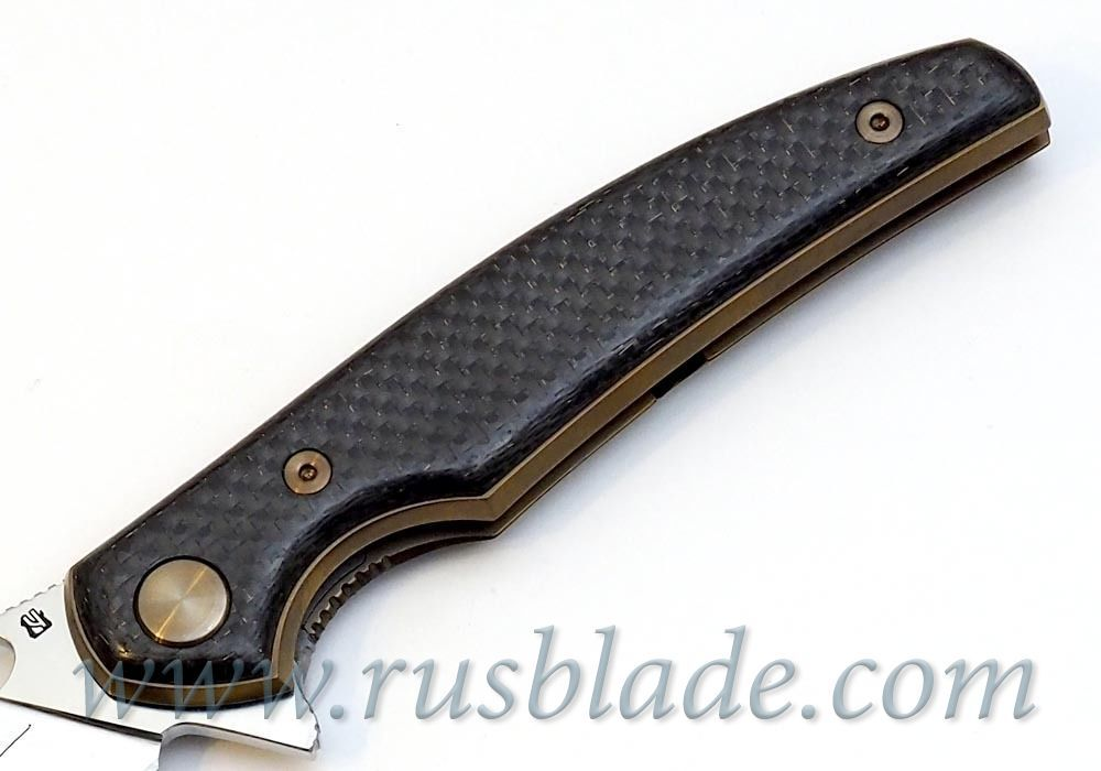 Cheburkov Golden Raven M390 CF Folding Knife Gold Plated Best Russian Knives
