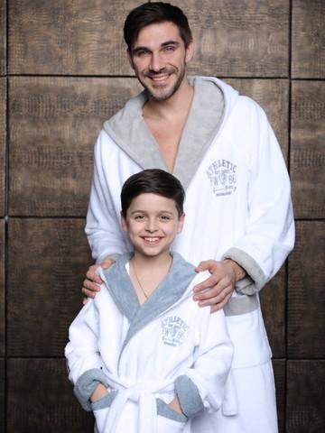 Athletic Junior  белый халат для мальчика подростково-детский  Five Wien (Турция)