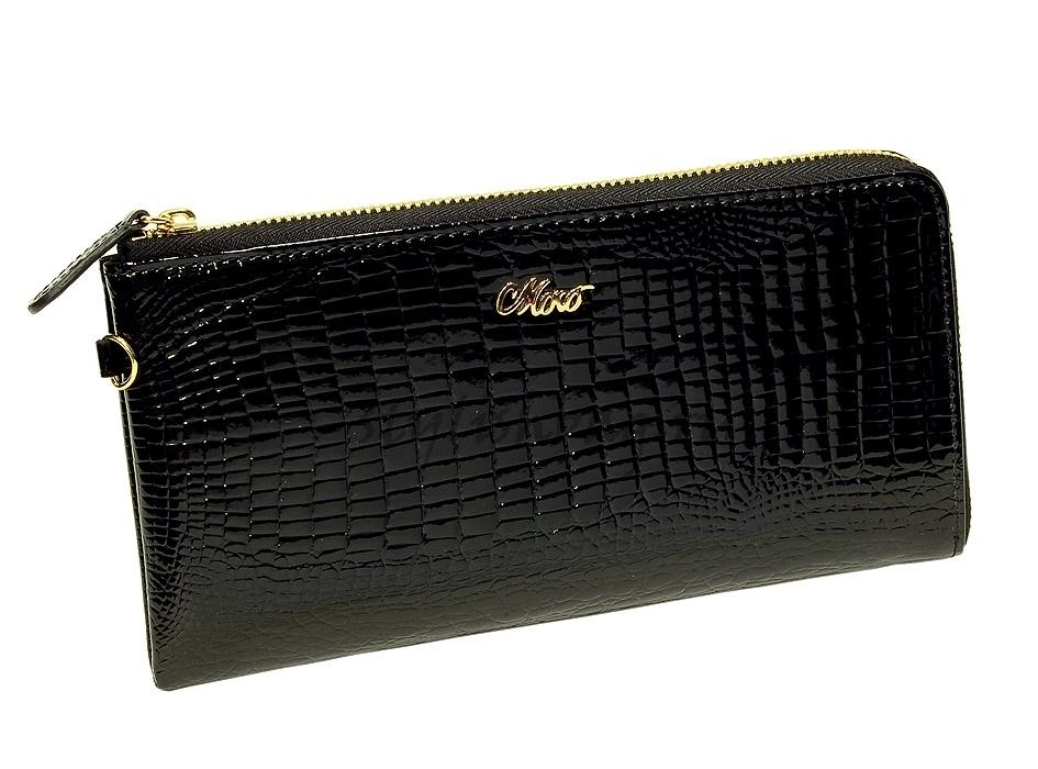 Женский кошелек-клатч 59050 черный лакированный Moro Jenny