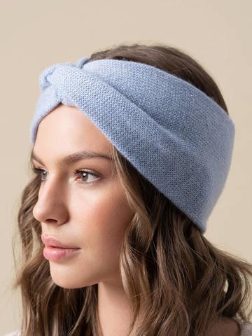 Женская повязка на голову голубого цвета из кашемира - фото 5