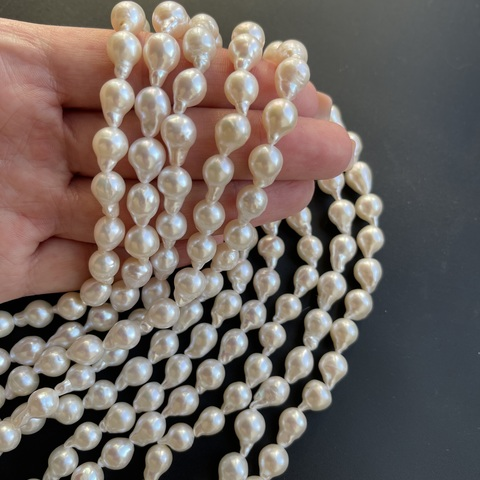 Жемчуг Капля белый А+ натуральный 9-10 мм