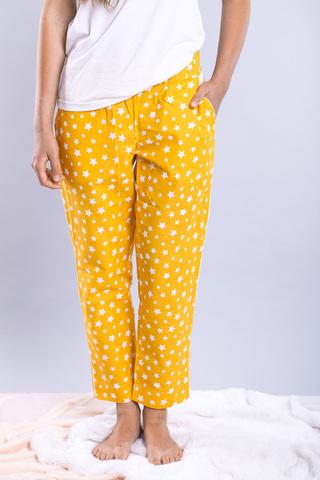 Штани домашні, Garment Factory, бавовна, M/L. Жовті в білі зірочки