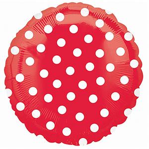 Фольгированный шар Горошек Красный 18