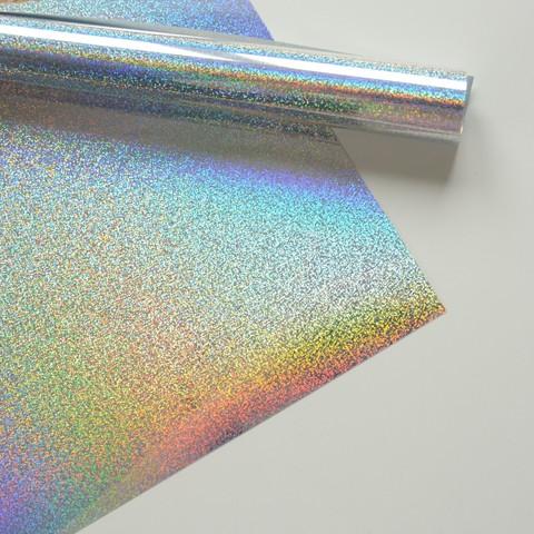 Термотрансферная пленка металлик, серебро голограмма мелкая, размер отреза 25х25 см