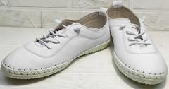 Женские летние кроссовки мокасины для девушек Rozen 115 All White.