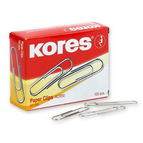 Скрепки Kores металлические никелированные 50 мм (100 штук в упаковке)