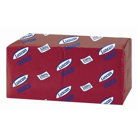 Салфетки бумажные Luscan Profi Pack 1-слойные 24х24 бордовый 400 штук в упаковке