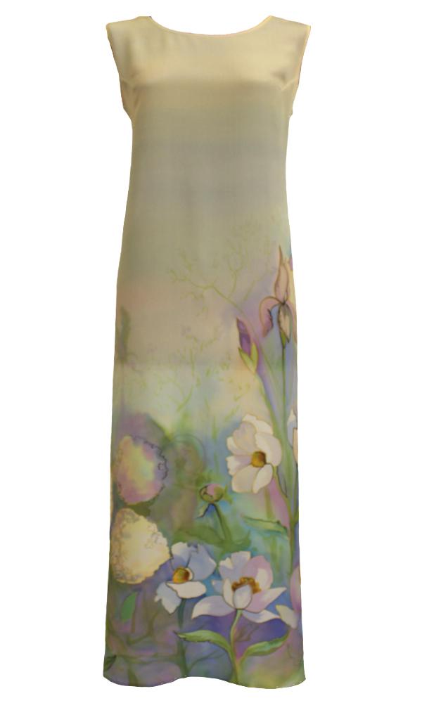 Шелковое платье батик Акварельное