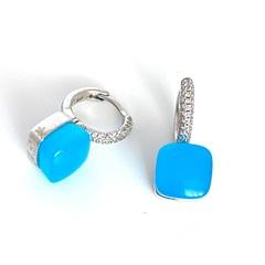 33381 - Серьги Caramel из серебра с голубым кварцем огранки кабошон