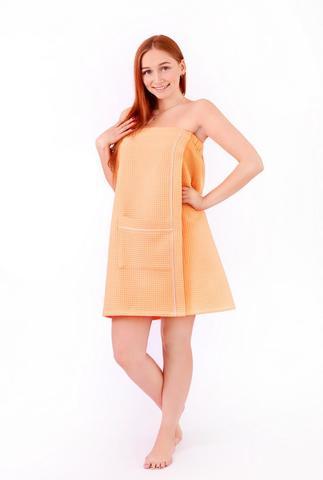 Парео женское для бани и сауны с карманом персиковый