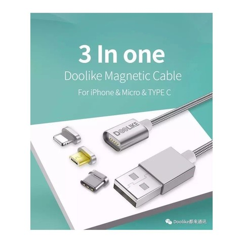 Doolike Cable DL-CB06 Magnetic Series 3 in 1 for Micro/Apple 1M Silver MOQ:50