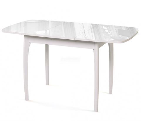 Стол обеденный М15 ДН4 деревянный со стеклом раздвижной белый, стекло белое