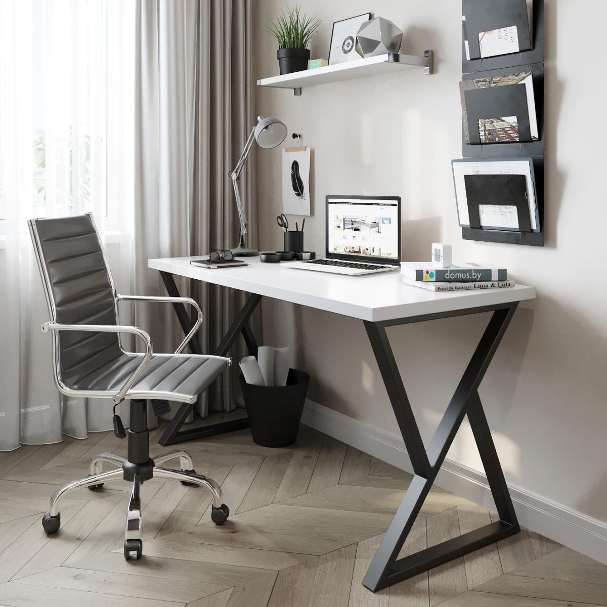 Письменный стол ДОМУС СП014 белый/металл черный
