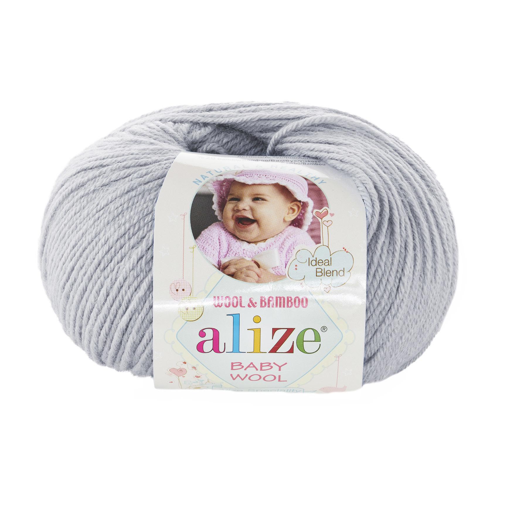 Пряжа Alize Baby Wool 52 светло-серый