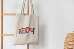Сумка-шоппер с принтом Один дома, Кевин Маккаллистер, Гарри и Марв (Home Alone) бежевая 004