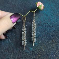 Позолоченные серьги из лабрадорита