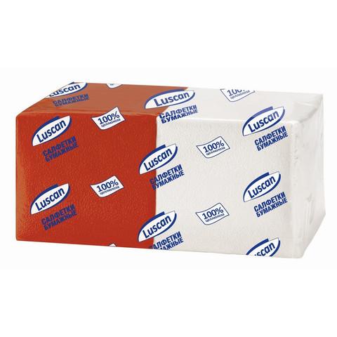 Салфетки бумажные Luscan Profi Pack 1-слойные 24х24 белые/красные 250 штук в упаковке