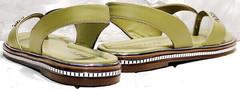 Женские кожаные босоножки на низком ходу Evromoda 454-411 Olive.