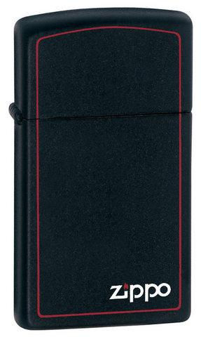 Зажигалка Zippo Slim Black Matte Logo Border, латунь/сталь, чёрная с фирменным логотипом