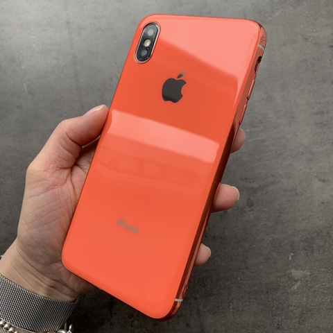 Чехол iPhone XS MAX Glass Silicone Case Logo /orange/