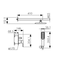 Смеситель KAISER Rios 66077 скрытый монтаж (комплект 4 позиции) схема