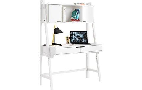 Стол письменный Polini kids Mirum 1446 высокий с полкой, белый/двери белые