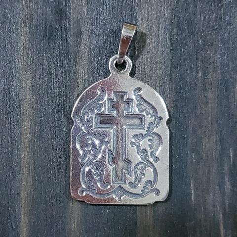 Нательная именная икона святой Юрий с серебрением