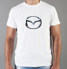 Футболка с принтом Мазда (Mazda) белая 001