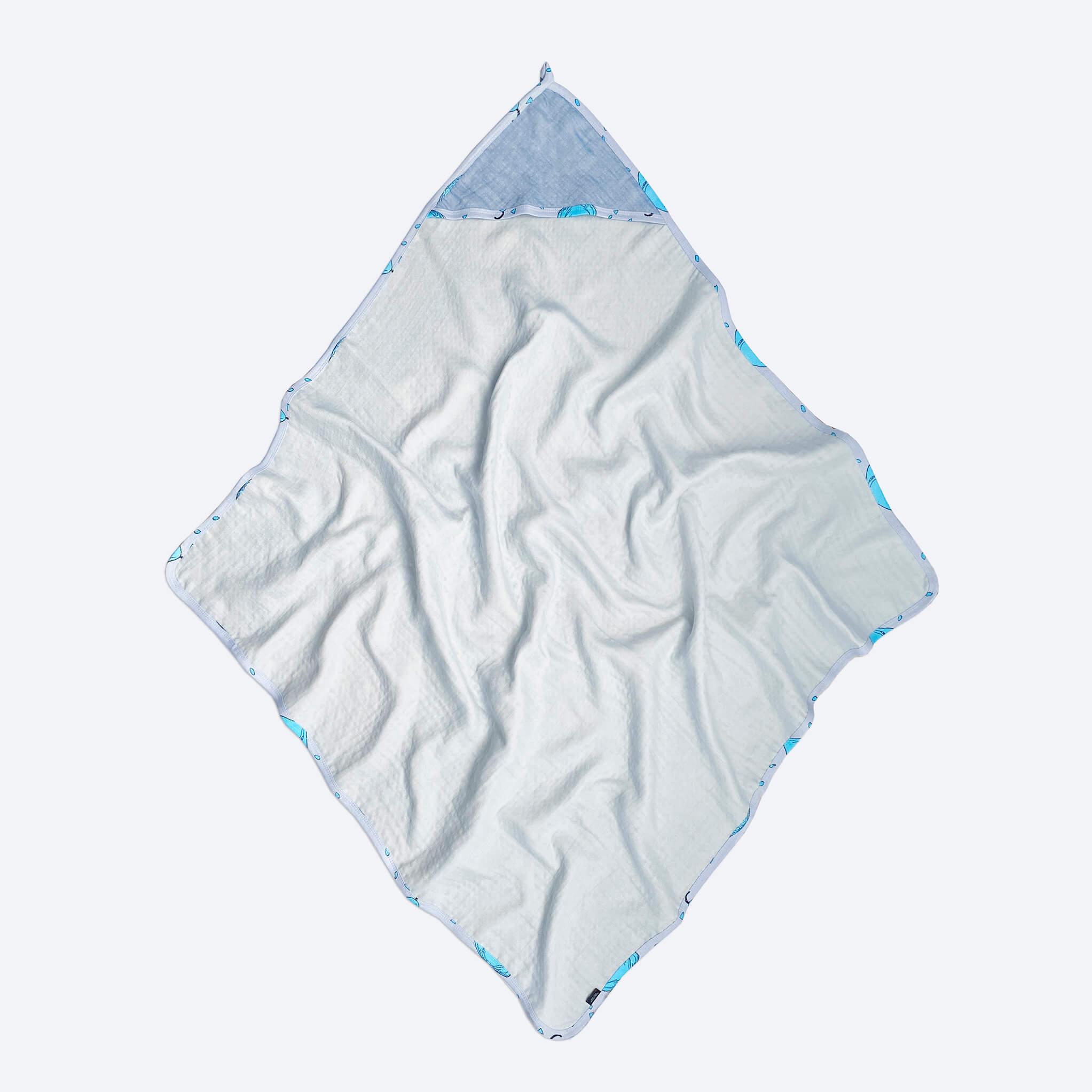 Комплект: Муслиновое полотенце с уголком и салфетка Mjölk Небесный
