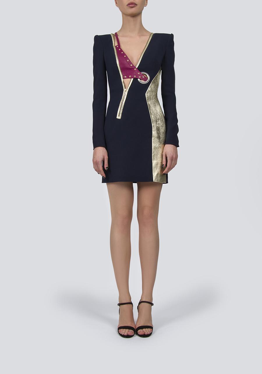 Платье мини со вставкой из кожи Nappa