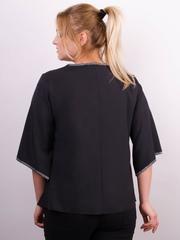 Марина. Весняна блуза size plus. Чорний.