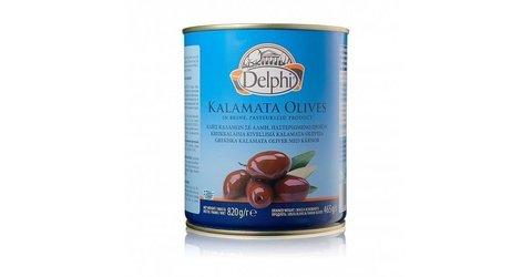 Маслины Каламата с косточкой Colossal 121-140 в рассоле DELPHI 820г ж/б