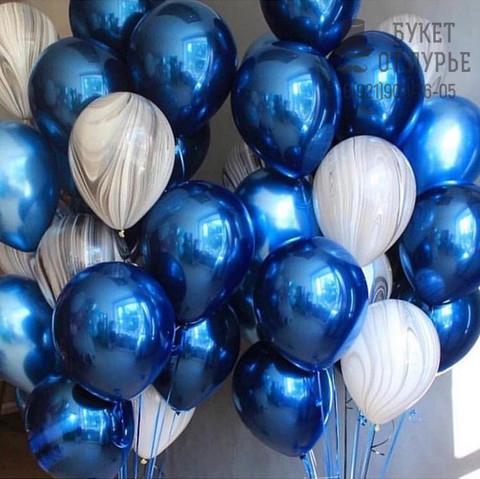 №4 Синий Гелиевый шар Зеркальный с обработкой