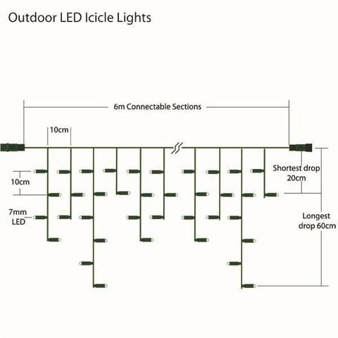 Светодиодная уличная бахрома  5 м на 0,7 м ПВХ провод белый цвет LED
