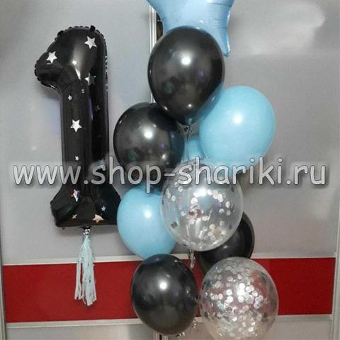 фольгированные шары цифры с гелием и декором