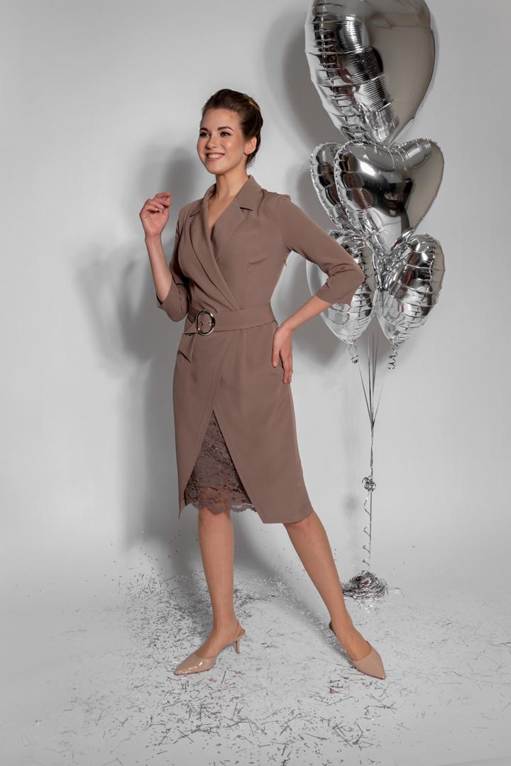 Платье-пиджак с ремнем (бежевый)