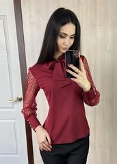Мілена. Вишукана блуза з оригінальним рукавом. Бордо
