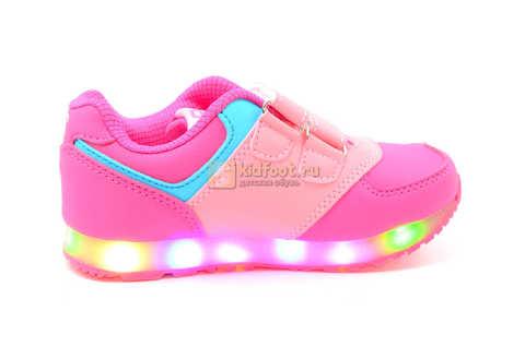 Светящиеся кроссовки Бебексия (BEIBEIXIA) для девочек, цвет розовый, светится вся подошва. Изображение 3 из 10.