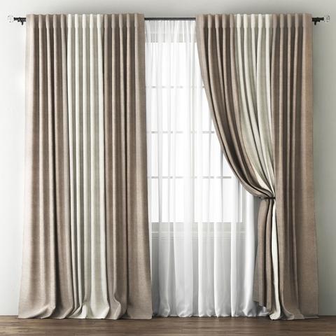 Комплект штор с подхватами Карин бежево-коричневый-кремовый