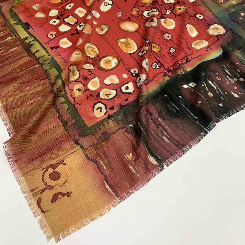 Кашемировый платок батик Климпт Яркий С-60-sh