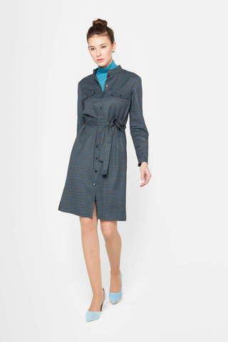 Фото темно-серое платье-костюм с мелким принтом в клетку - Платье З393-568 (1)