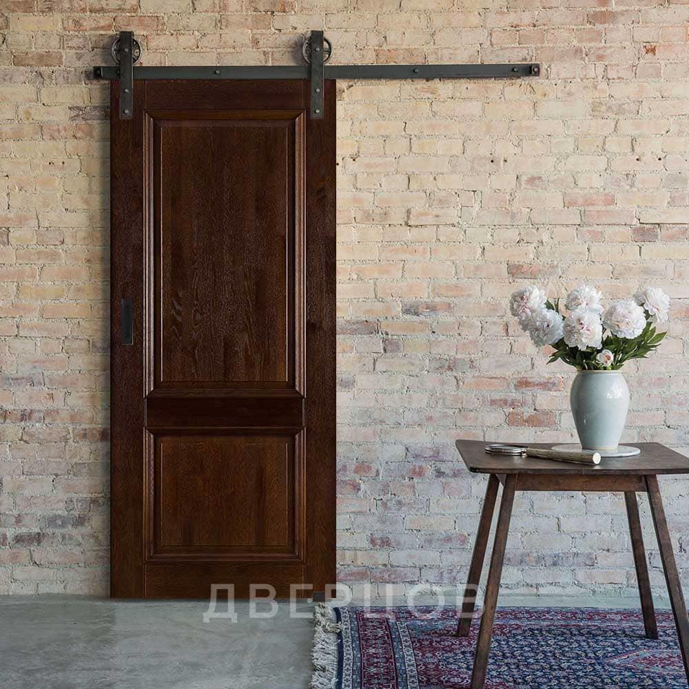 Амбарные двери Межкомнатная амбарная дверь массив дуба ОКА Афина багет античный орех il-Afina__bagetnaya-2filenki_-antichni-oreh.jpg
