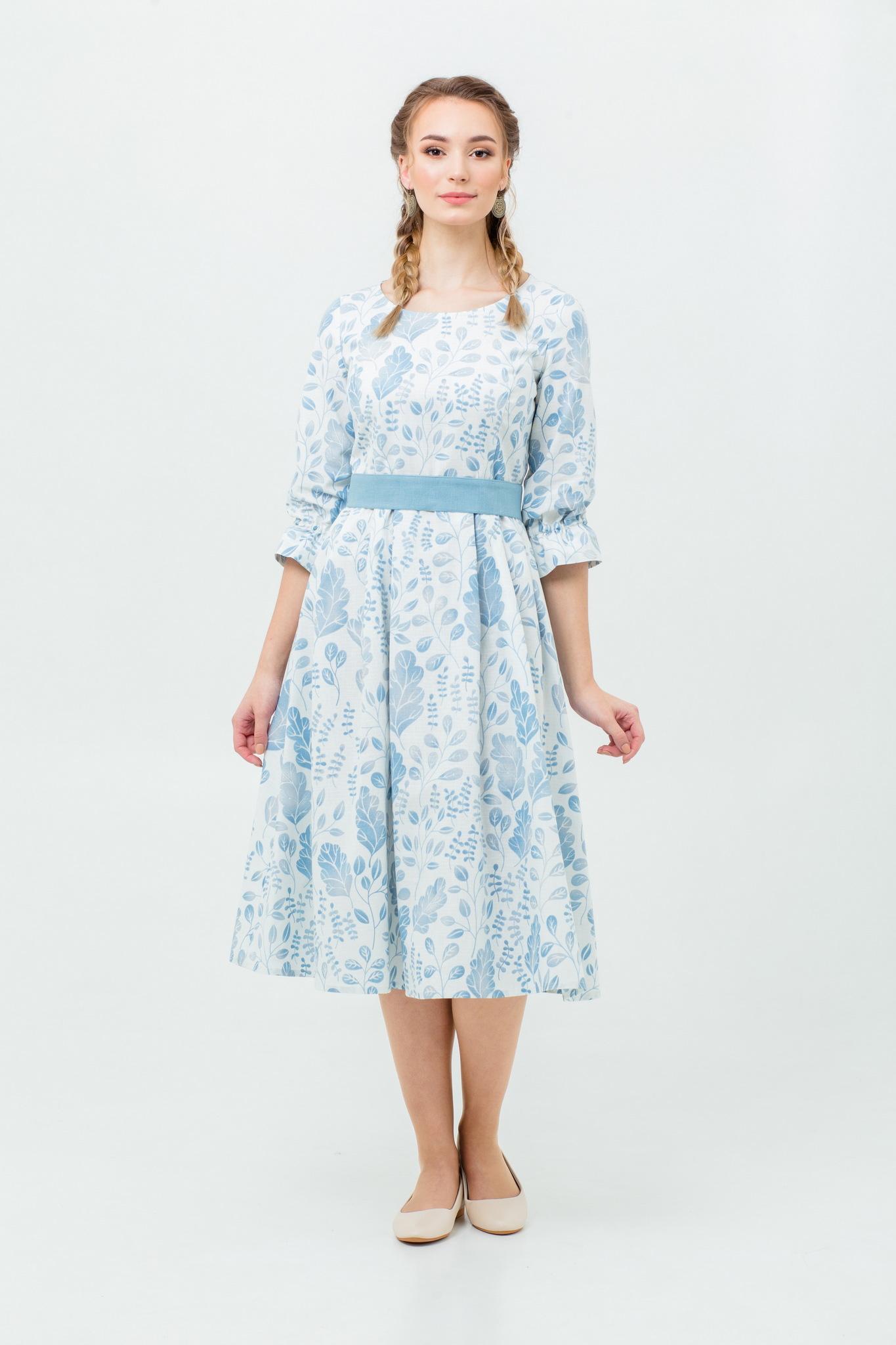 Платье с поясом миди на осень купить