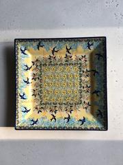 Квадратная тарелка «Ласточки» 23x23 см, Польша