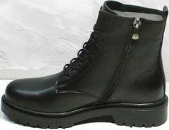 Брутальные ботинки женские демисезон Misss Roy 252-01 Black Leather.