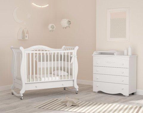 Кровать детская Габриэлла колесо-качалка,ящик