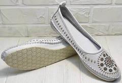 Женские кожаные слипоны туфли на плоской подошве женские Rozen 212 White.