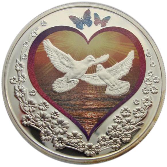 1 доллар. Море любви Голуби. Ниуэ. 2010 год