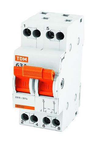 Модульный переключатель трехпозиционный МП-63 2P 25А TDM