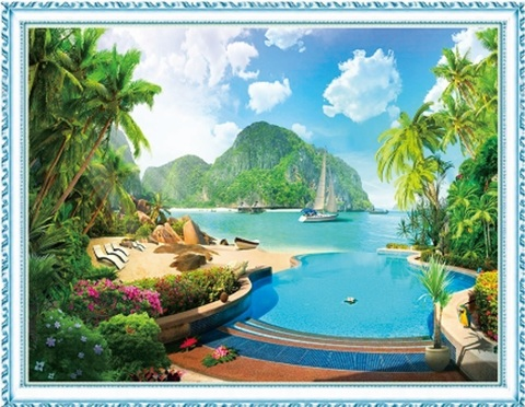 Алмазная Мозаика 40x50 Берег острова